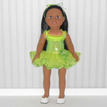 Lime Green Dance Outfit for 18 inch Girl Doll with Sequin Leotard and Ribbon Tutu American Doll Clothes