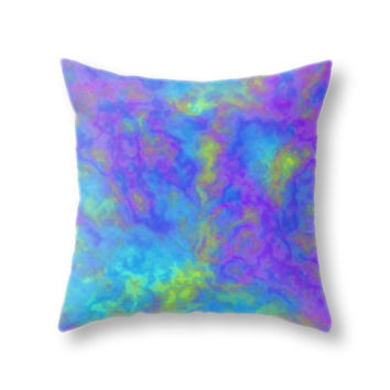 Psychedelic Mushrooms Effects Pillow Cover, Purple Turquoise Green Throw Pillow Case for Living Room and Home Decor