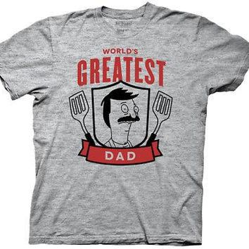 Bob's Burgers Father's Day World's Greatest Dad Mens T-Shirt - Heather Gray