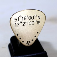 Bronze Guitar Pick with Personalized Latitude and Longitude