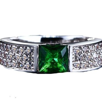 Green White Gold Color Ring For Women