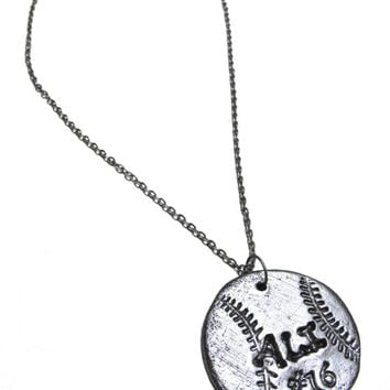 Softball Necklace - Personalized with Player's Name & Number - Handstamped, Personalized, Softball Gifts, Team Spirit Jewelry, Softball Moms