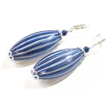 Murano Blown Glass Navy Blue Long Earrings, Sterling Silver Leverbacks