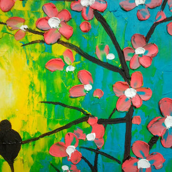 Birds On A Blooming Tree - Original Painting - Abstract Romantic Landscape - Impasto Oil On Canvas Painting - Contemporary Art By Gargovi