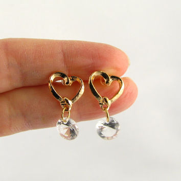 Open Heart and Crystal Earrings,  18K Gold Filled Heart Earrings / Dangle Earrings / Wedding Earrings