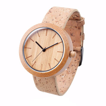 Bamboo Watch: Natural + Cork