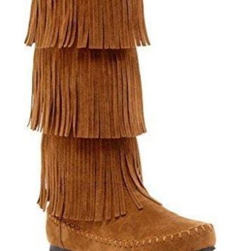 Charles Albert Women's 3-layer Fringe Moccasin Boot Ugg Boots - Beauty Ticks
