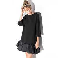 Black Ruffled Flounced Shift Dress