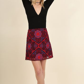 Women's A-Line Mini Skirt with Floral Embroidery
