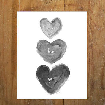 Black Heart Watercolor Painting i love you Charcoal Grey Black and White Art Gray Nursery Art