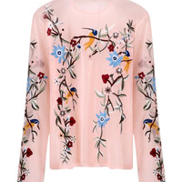 Pink Embroidered Floral Mesh Long Sleeve Top