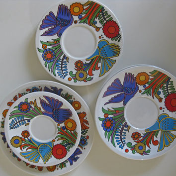 Villery and Boch Acapulco plates and saucers retro Mexican style