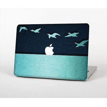 The Abstract Swirled Two Toned Green with Birds Skin Set for the Apple MacBook Pro 13""