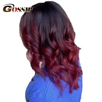 Gossip Hair Extension Ombre Brazilian Hair Weave Bundles Two Tone 1B Burgundy/Red 99J Body Wave Human Hair Bundles 1 PC Non Remy
