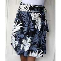 Black White and Grey Midi Skirt with sash Belt by LoNaDesign