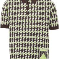 70s Green and Brown Jacquard Polo by Prada