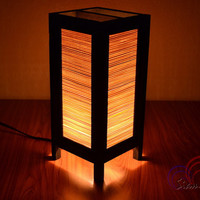 Bamboo Lamp Thai Vintage Wooden Table Lantern Bamboo Blind Style by SiamLight
