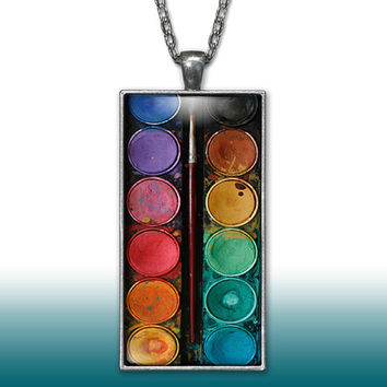 Paint Set Pendant Charm Necklace Watercolors Artist Set Paint Brush Gift Custom Charm Necklace Silver Plated Jewelry