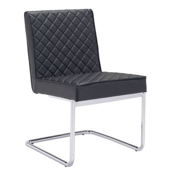 Quilt Armless Dining Chair Black Chromed Steel