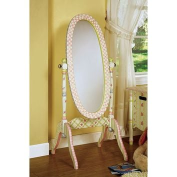 Teamson Kids Fantasy Fields Crackled Rose Standing Mirror (Pink Purple Green)