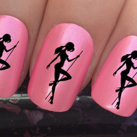 nail decals #323 sexy pole lap dancing girl water transfers stickers manicure art set x24