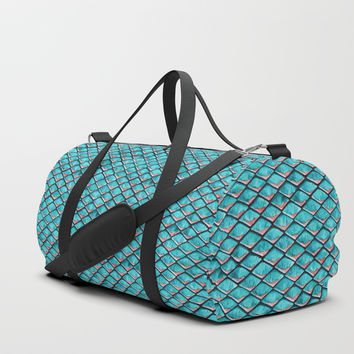 Teal blue and coral pink arapaima mermaid scales Duffle Bag by savousepate