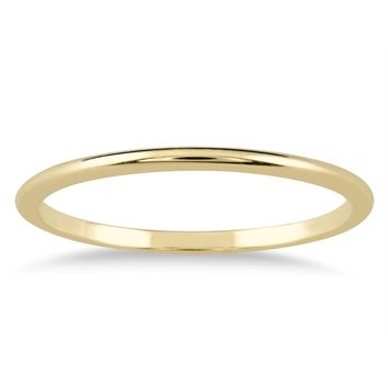 1mm 14K Gold Thin Domed Wedding Band (Yellow or White Gold)