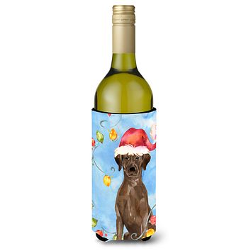 Christmas Lights Chocolate Labrador Retriever Wine Bottle Beverage Insulator Hugger CK2506LITERK