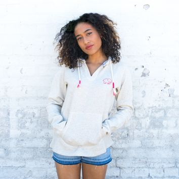 Heather Oatmeal Embroidered Hoodie