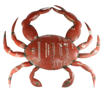Reclaimed Metal Red Crab - Wall Mount