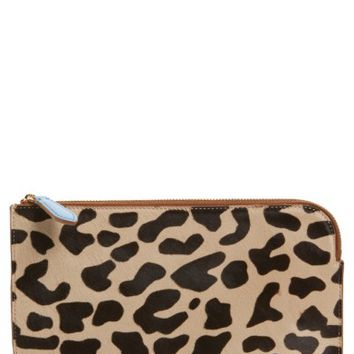 Diane von Furstenberg Medium Genuine Calf Hair & Leather Zip Pouch | Nordstrom