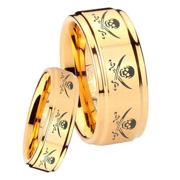 His Her Glossy Step Edges Multiple Skull Pirate 14K Gold IP Tungsten Wedding Rings Set
