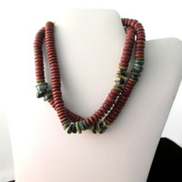 Brick Red Necklace Wood and Stone 29 Inch With Olive Green Autumn Colors Vintage Collectible Gift Item 1760