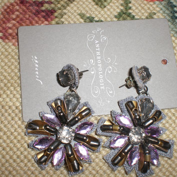 Large Plum Dangled With Fauz Suede & Crystals Drops Earrings New Tag (Anthropologie)