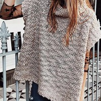 Casual Khaki Plain Irregular Polo Neck Pullover Sweater