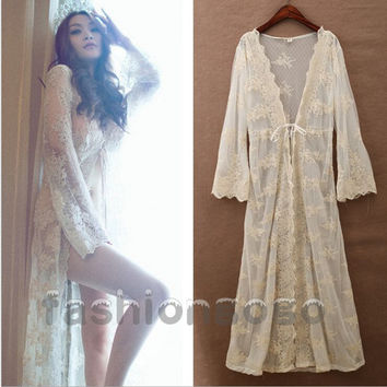 Women Bridal Vintage Princess Long Sexy Lace Robe Dress Bathrobes Sleepwear  Nightdress Lingerie Romantic Nightgowns Cardigan 308d1225f