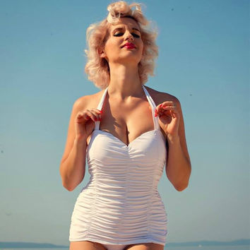 Monroe Inspired Sheath Ruched Swimsuit