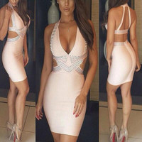 Sexy Halter V-Neck Diamond Backless Dress