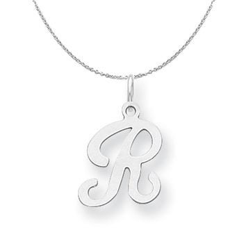 Sterling Silver, Sophia Collection, Small Script Initial R Necklace