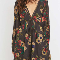 Free People Strawberry Print Black V-Neck Dress - Urban Outfitters