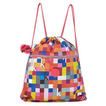 Supertaboo Printed Drawstring Backpack - Kipling Squared Sunset Orange