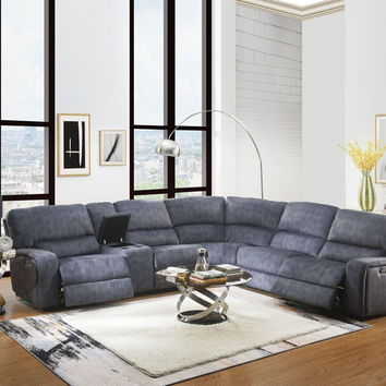 Acme 53985 6 pc saul blue denim velvet sectional sofa with power recliners