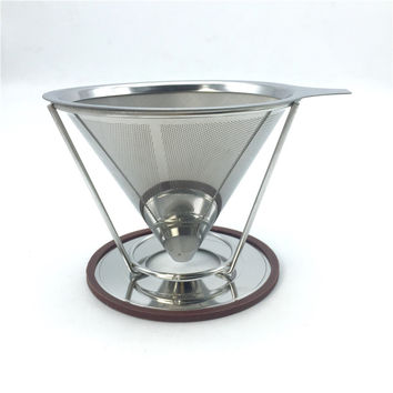 Portable stainless steel coffee filters / reusable V-type filter cup filter cone filter drip coffee maker tool sets