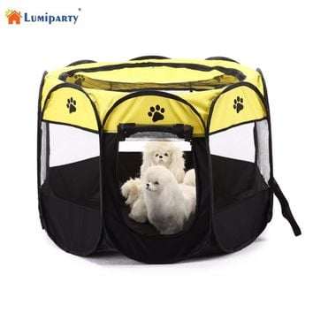 LumiParty Foldable Portable Pet Playpen Dog Cat Exercise Pen Kennel Oxford Cloth 8 Sided Cage-35