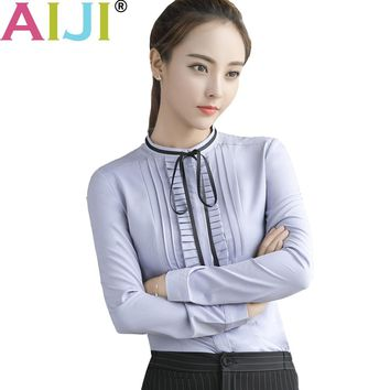 AIJI elegant string bow shirt women OL formal long sleeve slim chiffon blouse office ladies work wear plus size tops