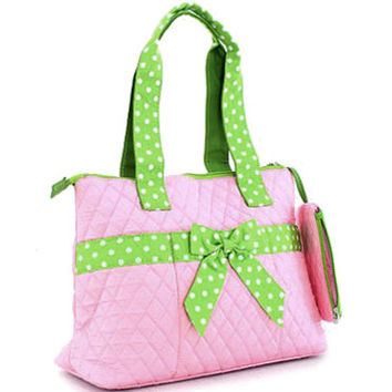 Quilted Medium Diaper Bag w/ Bow & Polka Dot Trim - Pink/Green Color: Pink/Green