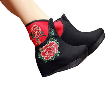 Chinese Embroidered Shoes women's singles boots national wind Elevator shoes Tall Boots Black