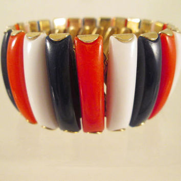 Lucite Bracelet Red White Blue Vintage Hong Kong Patriotic Expansion Vintage Jewelry Independence Day