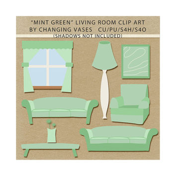 Mint Green Living Room Clipart Clip Art Graphics, Family Room, Sofas, Chair, Table, Flower, Window, Lamp, Artwork, Scrapbook Elements