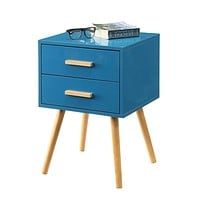 Modern Classic Mid-Century Style End Table Nightstand in Blue Finish